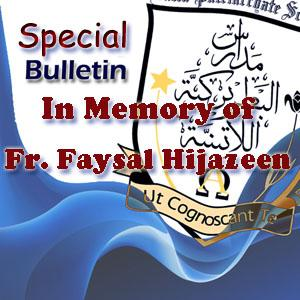 Special Bulletin – In Memory  Fr Faysal Hijazeen Aug - 2016