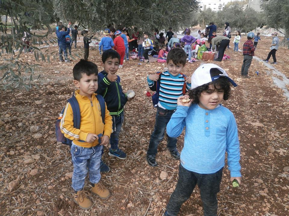 Jenin: The Kindergarten students participate in an education field trip about Olive Picking.