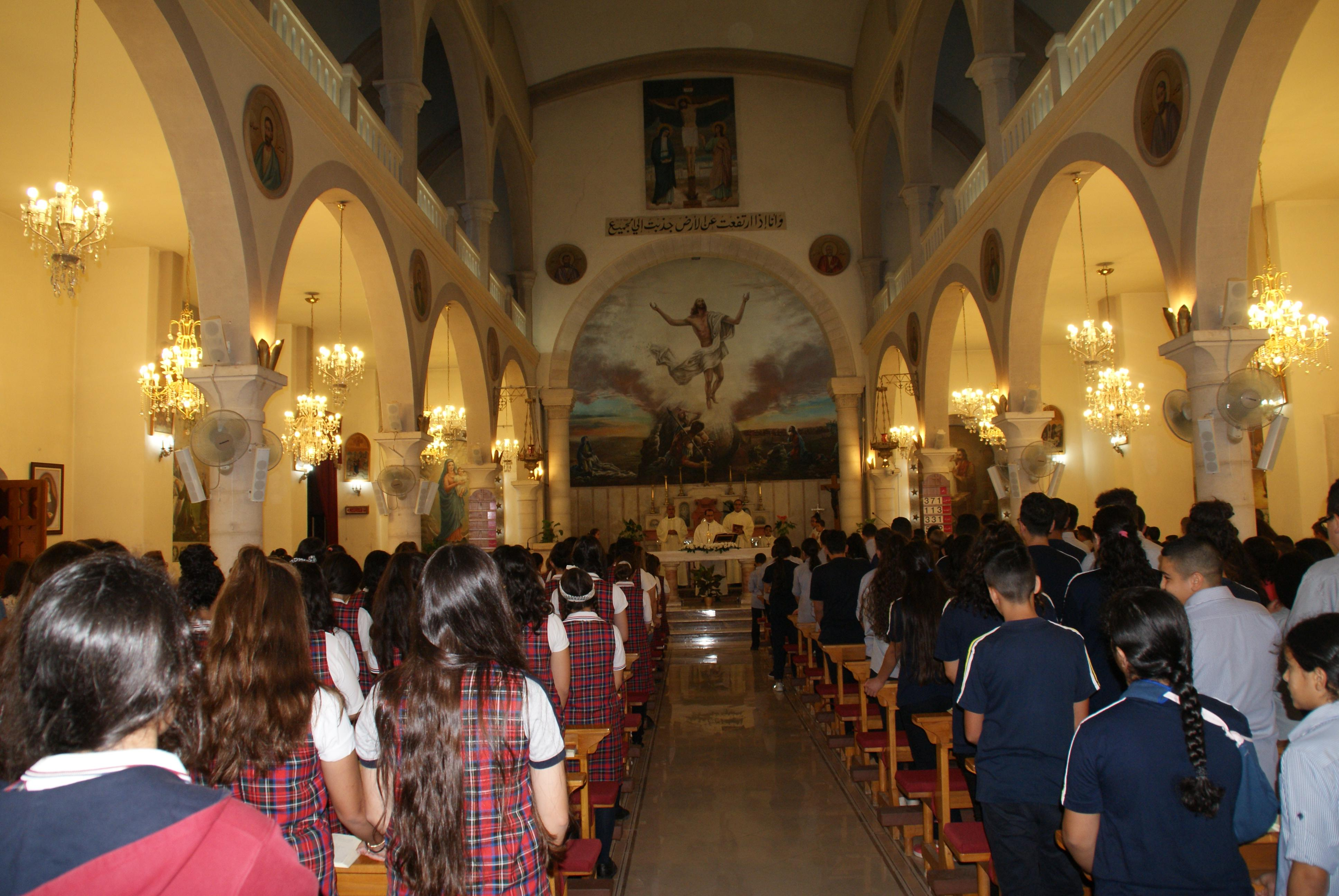 Ramallah - the opening Mass for the new academic year in Ahliya College